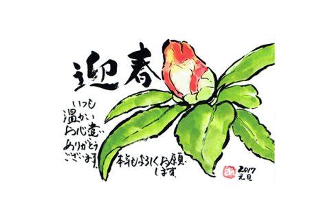 【迎春】本年もよろしくお願いします—アキラさんの絵手紙2017