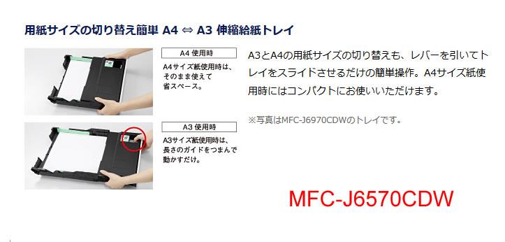 A3対応複合機MFC-J6570CDWでA3をトレイに入れる方法